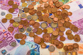 Money euro coins and banknotes — Stock Photo