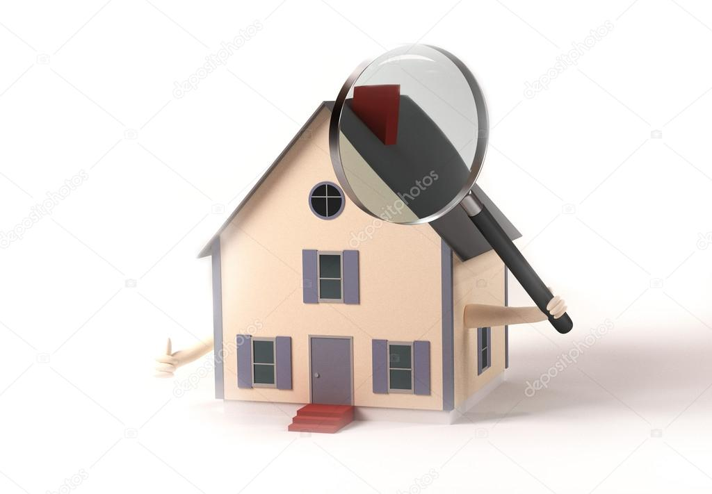 Image of a house holding a magnifying glass isolated on a white background.  Stock Photo #18975907