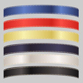 Set of Six Satin Ribbons in Primary Colors — Stock Vector