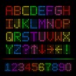 Colorful Digital Font, Vector Illustration — Stock Vector
