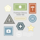Medical Postage Stamps - Vector Set — Stock Vector