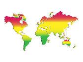 World Map Rastafari — Stock Vector