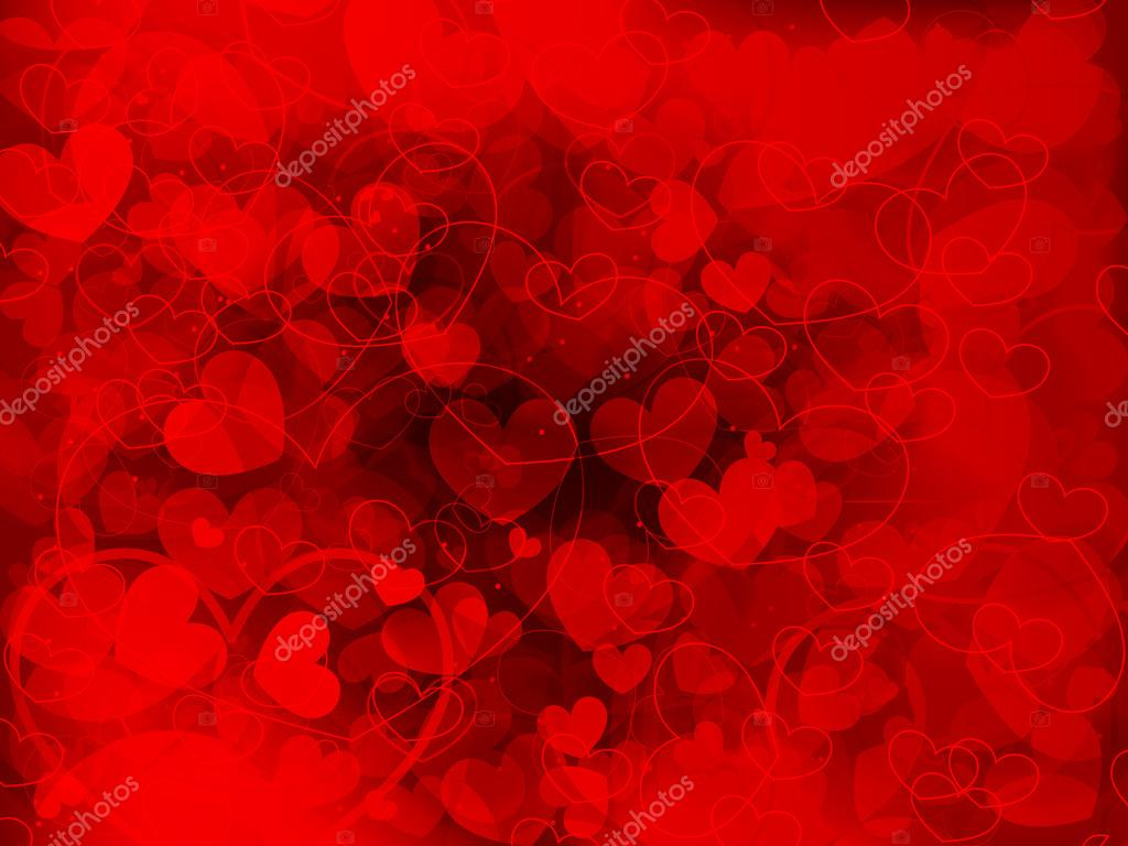 Red Valentine's day background with hearts. Vector illustration. Eps10. — Stock Vector #18557479