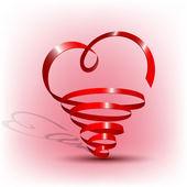 Abstracte rood lint hart vorm — Stockvector