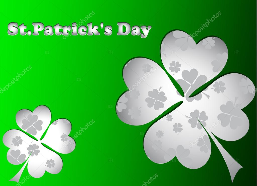 Green St. Patrick's day card with four leaf clover stickers. — Stock Vector #19929861