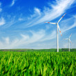 Stock Photo: Wind energy turbines on field