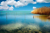 Blue lake with blue sky — Stock Photo