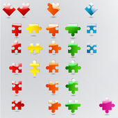 All possible shapes of puzzle pieces in different colors — Stock Vector