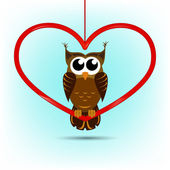 Cute owl Valentine's Day card — Stock Vector