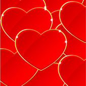 Red Valentine's day background with hearts — Stock Vector