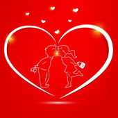 Valentine's day card with kissing couple — Stock Vector
