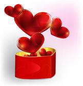 Heart shaped gift box — Stock Vector