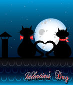 Valentine's day background with cats — Stock Vector