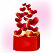 Heart shaped gift box with hearts — Stock Vector #40354463
