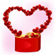 Heart shaped gift box with hearts — Stock Vector #40354475