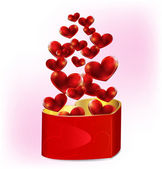 Heart shaped gift box with hearts — Vector de stock