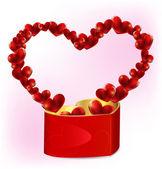 Heart shaped gift box with hearts — Stock vektor