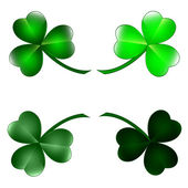 Set of three leaf clovers — Stock Vector
