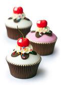 Cherry cupcakes — Stock Photo
