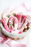 Valentine cookie gift basket — 图库照片
