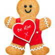 Valentine gingerbread man — Stock Photo
