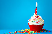 γενέθλια cupcake — Φωτογραφία Αρχείου
