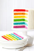 Rainbow layer cake — Stock Photo