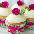 Stock Photo: Rose cupcakes