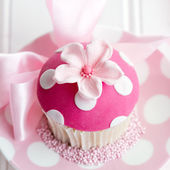 Pink flower cupcake — Stock Photo