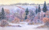 Watercolor landscape. Snowfall over the valley — Stock Photo