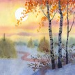 Watercolor landscape. A quiet winter evening in a field — Stock Photo #14815047