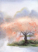 Watercolor landscape. Flowering tree near the rive — Stock Photo