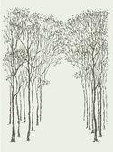 векторный фон. дуги кадр деревьев — Cтоковый вектор