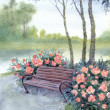 Royalty-Free Stock Photo: Watercolor landscape. Park bench by the bushes pions