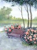 Akvarel krajiny. lavičce v parku do křoví piony — Stock fotografie