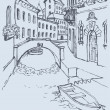 Vector drawing. Canal narrow Venetian street with bridge and gon - Stok Vektr
