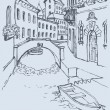 Vector drawing. Canal narrow Venetian street with bridge and gon - 图库矢量图片