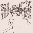 Vector sketch of the narrow medieval street with bridge over the - Stock Vector