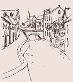 Vector sketch of the narrow medieval street with bridge over the — Cтоковый вектор