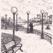 Vector landscape. Young couple on a park promenade with benches - Stock Vector