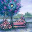 Stock Photo: Watercolor landscape. Glowing lantern near the bench in spring p