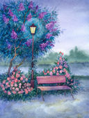Watercolor landscape. Glowing lantern near the bench in spring p — Stockfoto