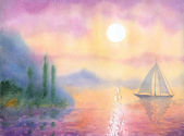 Watercolor landscape. Sailboat at Sea quiet evening — Stock Photo