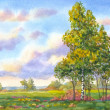 Watercolor landscape. The trees in the evening field - Stock Photo