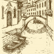 Vector drawing. Canal narrow Venetian street with bridge and gon - Vettoriali Stock