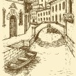 Vector drawing. Canal narrow Venetian street with bridge and gon - Stock vektor