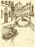 Vector drawing. Canal narrow Venetian street with bridge and gon — Stock Vector