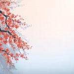 vektor bakgrund i japansk stil. blommande cherry grenar — Stockvektor