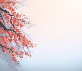 Vector background in Japanese style. Blossoming cherry branches — Stock vektor