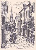 Vector stadsgezicht. jong koppel lopen op de oude straat — Stockvector